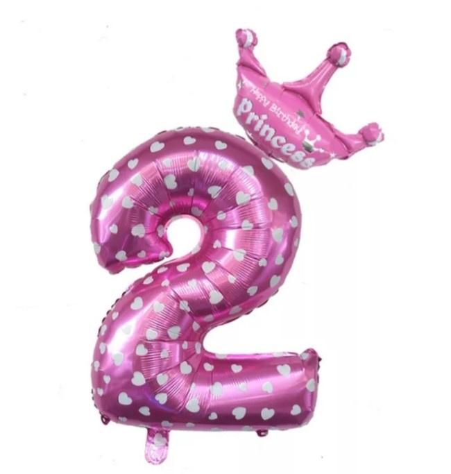 Folie Ballon Princess met kroon + cijfer 2