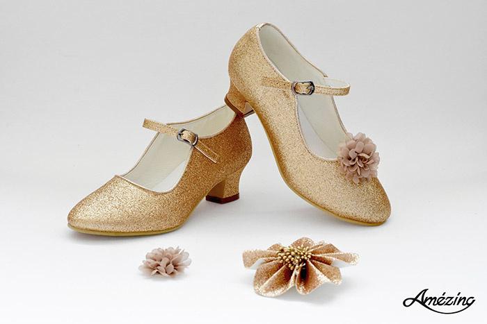 Prinses schoenen GOUD GLITTER + 2 gratis bloemclips en 1 haarbloem