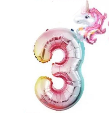 Folieballon regenboog unicorn 3
