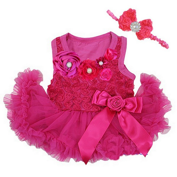 Babyjurl met roosjes LUXE pink lange/korte mouw + haarband