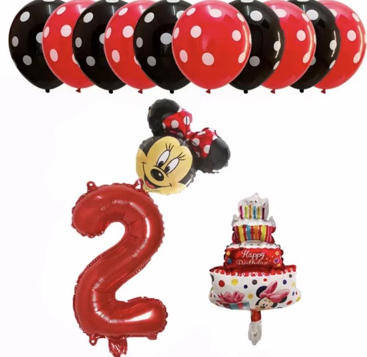 Minnie Mouse ballon set ROOD 2 jaar (13-delig)
