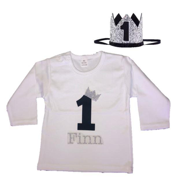 Shirt jongen getal 1 zwart-zilver met naam + kroon