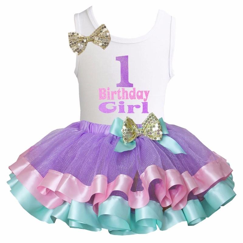 Tutu Satijn Birthday Girl 1 t/m 6 lavendel