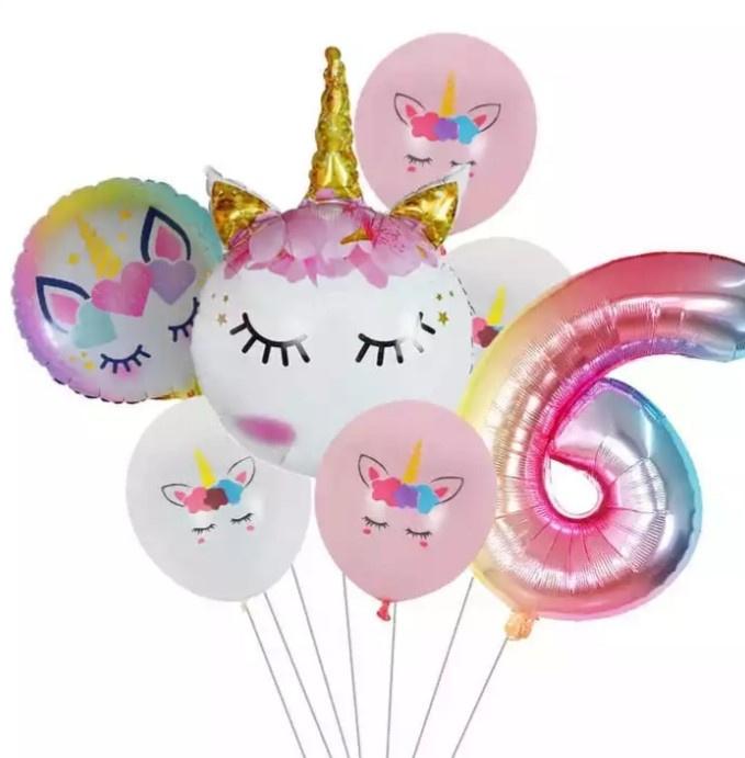 Folie ballonnen Unicorn 6 jaar (7-delig)