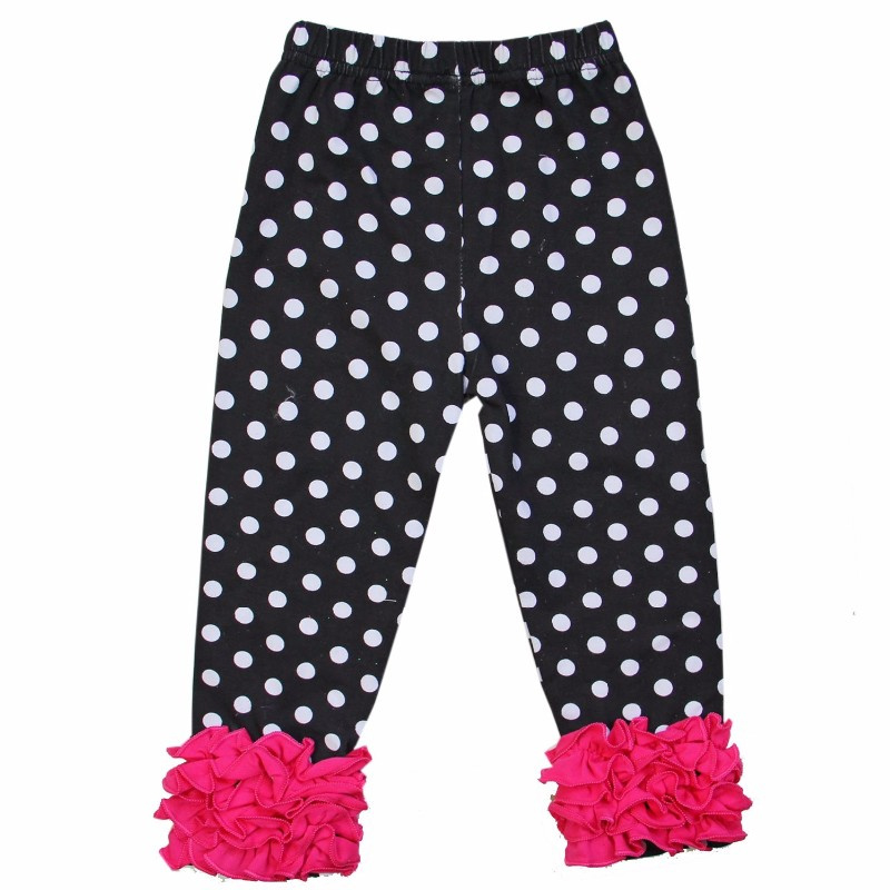 Legging zwart wit dots met roze ruffles