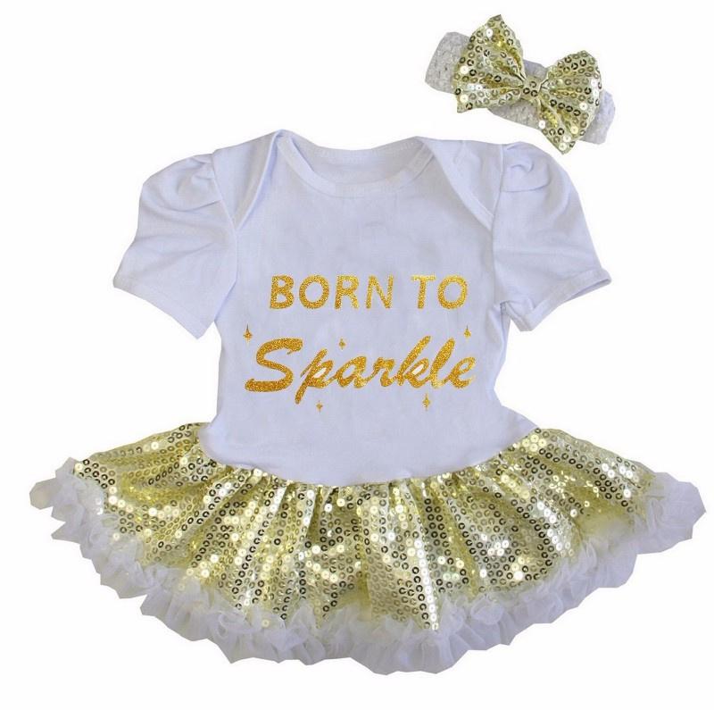 Babyjurk Born To Sparkle goud glitter + haarband