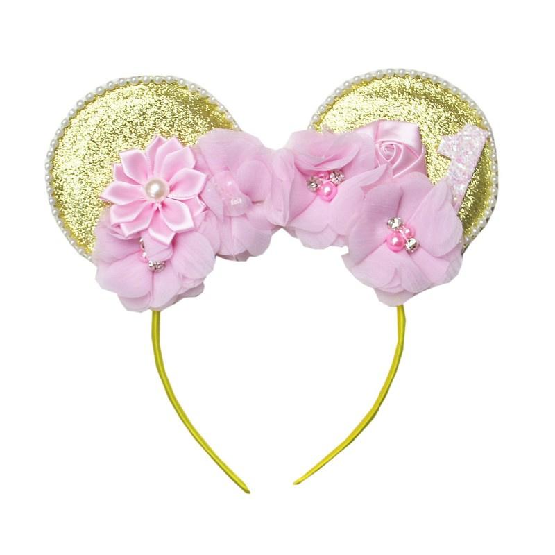 Diadeem Minnie Mouse bloemen goud 1 jaar