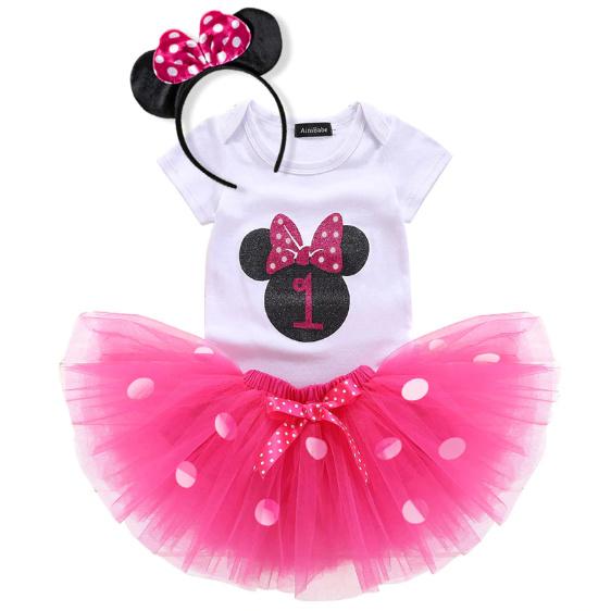 Minnie Mouse verjaardagset pink 1 jaar (3-delig)