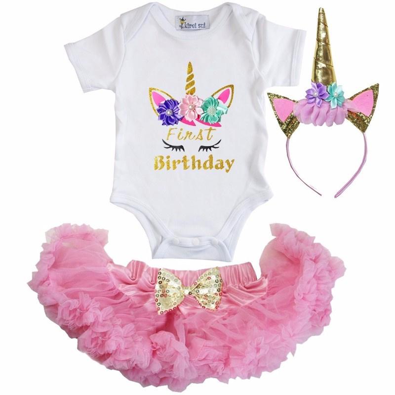 Unicorn First Birthday lang/korte mouw roze + diadeem