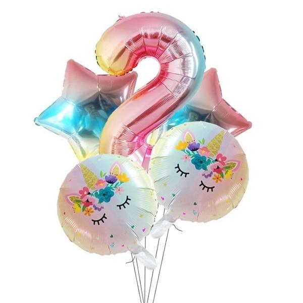 Folie Ballon Unicorn 2 jaar (5 stuks)