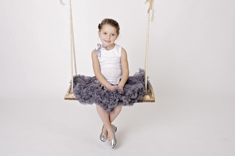 Prinses ballerina schoenen ZILVER GLOSSY + 2 gratis bloemclips en 1 haarbloem