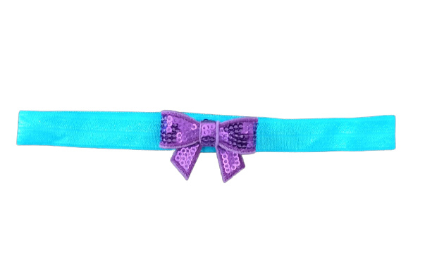 Haarband strik klein, aqua/paars