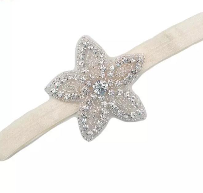 Haarband bloem steentjes zilver/creme