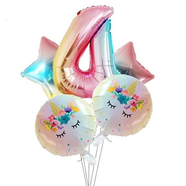 Folie Ballon Unicorn 4 jaar (5 stuks)