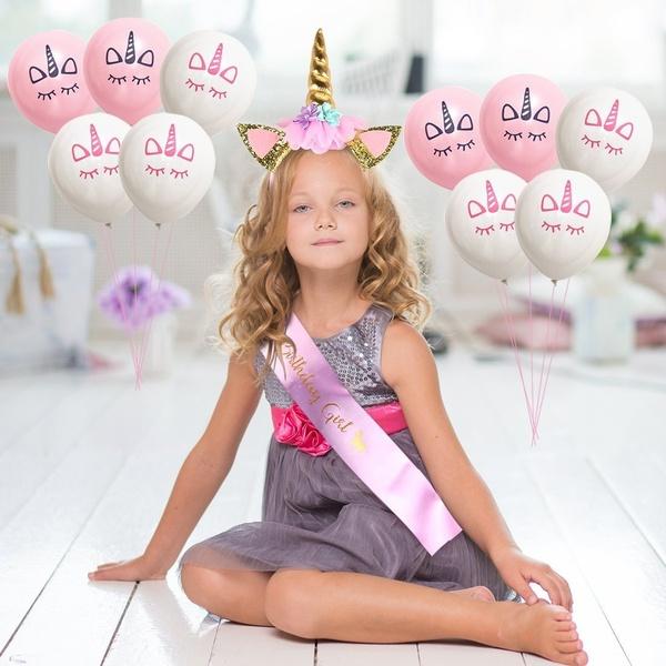 Sjerp unicorn, Birthday Girl roze + diadeem unicorn