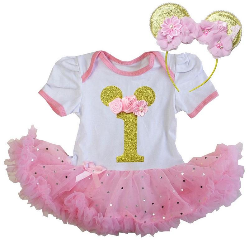 Minnie Mouse verjaardag babyjurk 1 jaar + diadeem Minnie Mouse