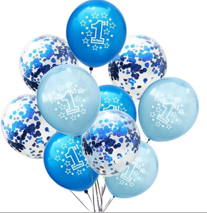Ballonnen 2 x blauw en doorzichtig- 10 stuks
