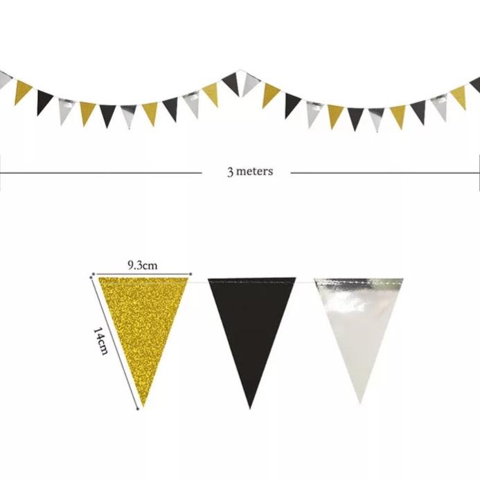 Vlaggenlijn zwart/goud/zilver