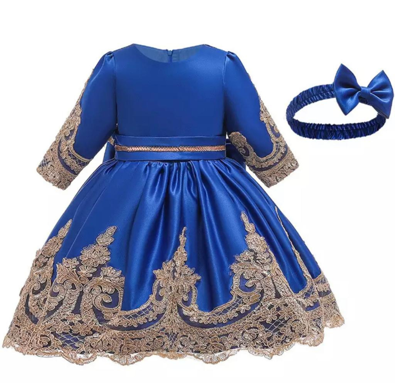 Winter feestjurk donker blauw met haarband