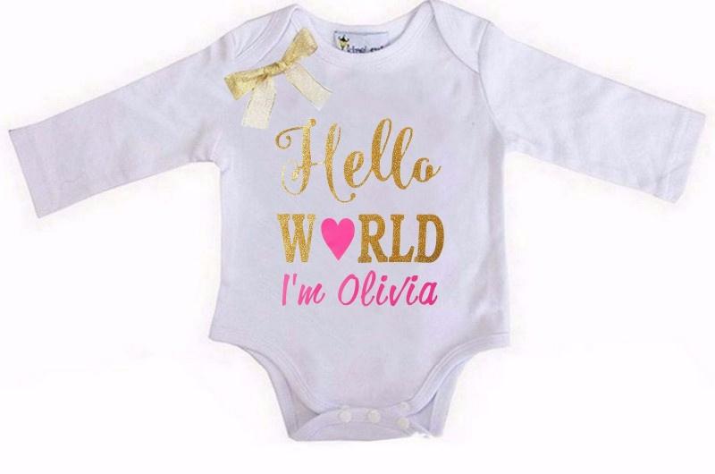 Baby shirt Hello World wit + eigen naam lang/korte mouw