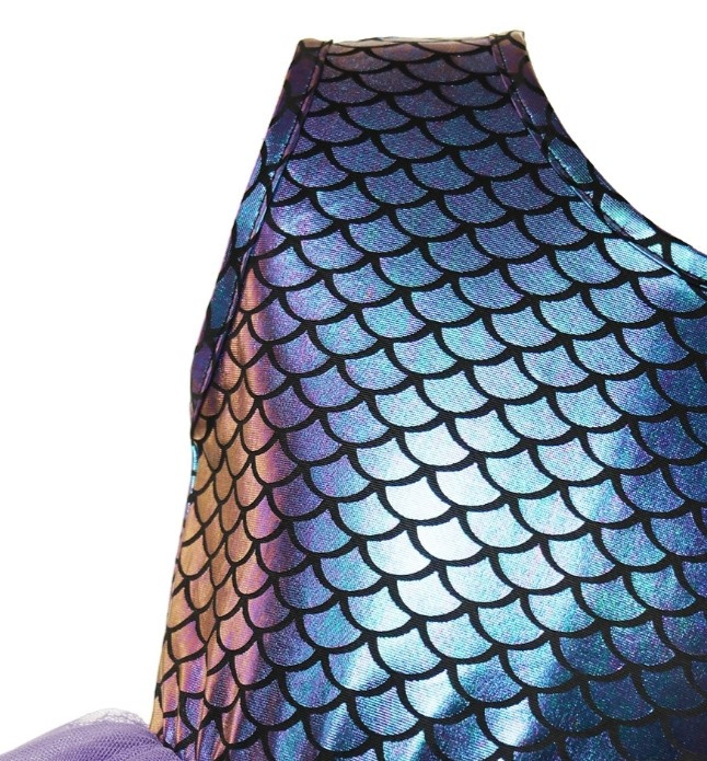 Feestjurk Mermaid paars + diadeem