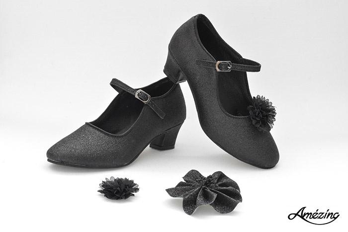 Prinses schoenen ZWART GLITTER + 2 gratis bloemclips en 1 haarbloem
