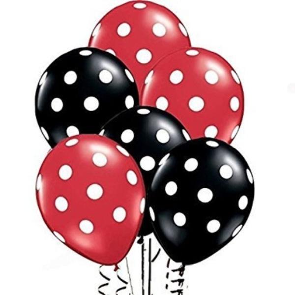 Minnie Mouse Balonnen 2 rood/3 zwart - 5 stuks