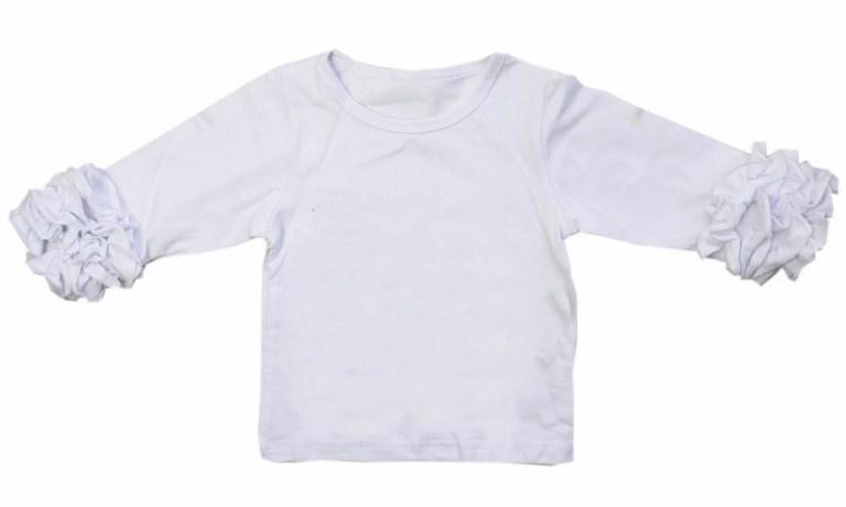 Shirt wit ruffle mouwen, maat 122/128
