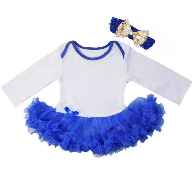 Babyjurk kobalt blauw longsleeve + haarband goud