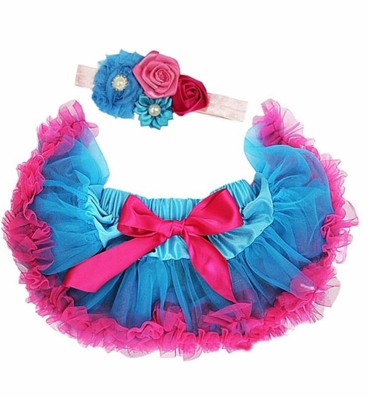 Pettiskirt Pauwblauw/pink + haarband
