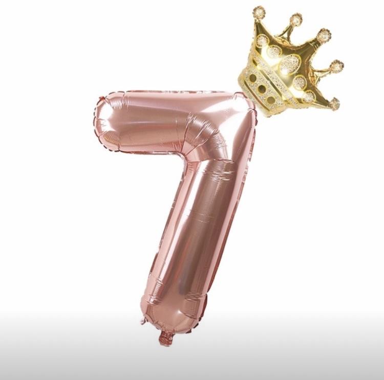 Folie Ballon Kroon + cijfer 7 - goud met rosé goud