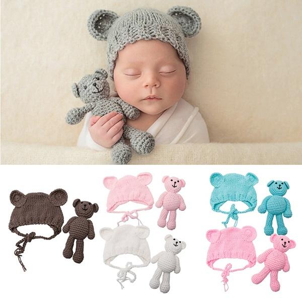 Newborn baby mutsje + beer lichtroze