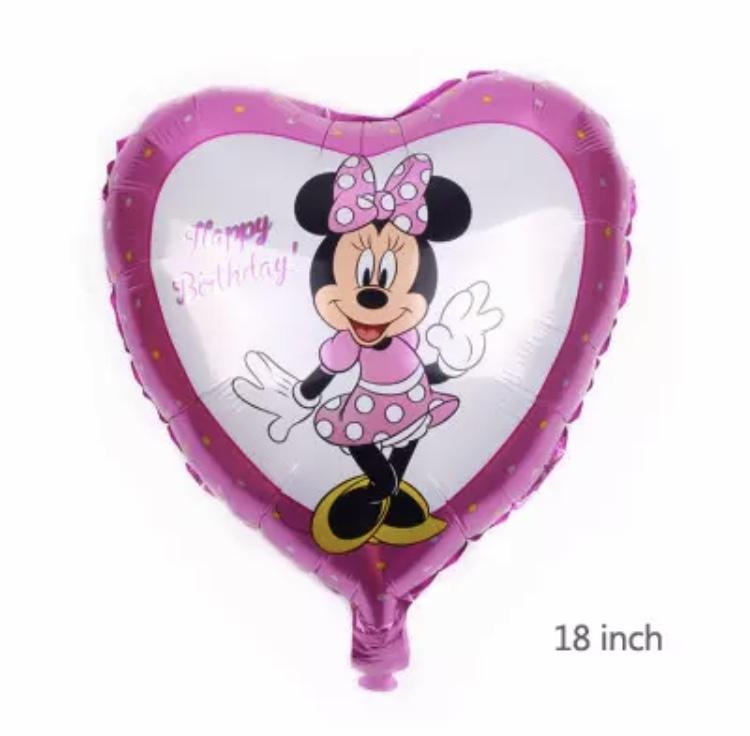 Minnie Mouse hart folie ballon roze