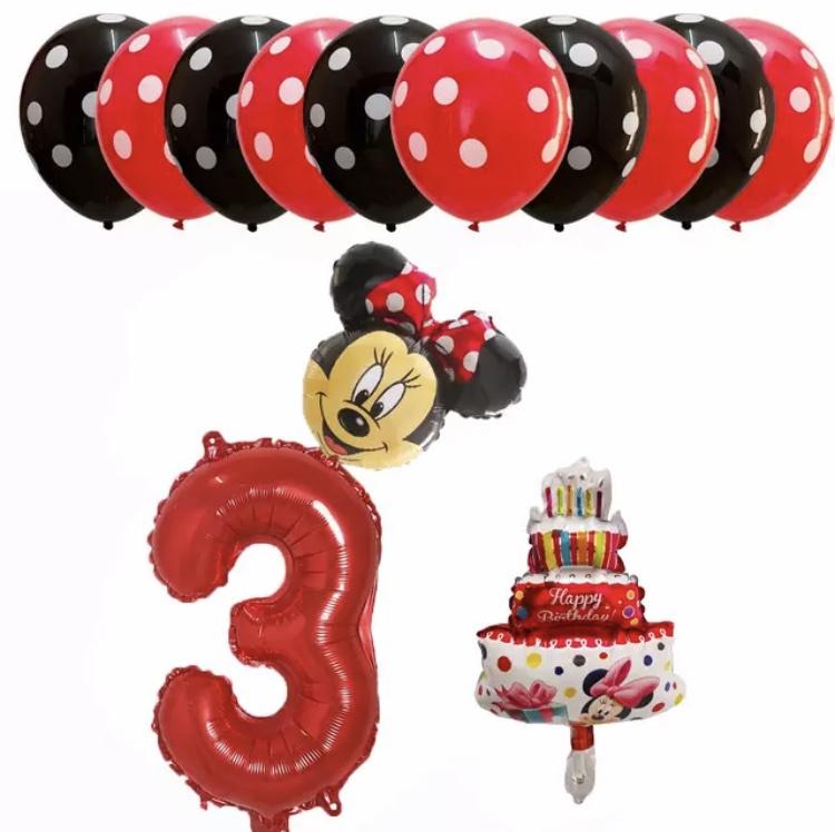 Minnie Mouse ballon set ROOD 1 t/m 9 jaar (13-delig)