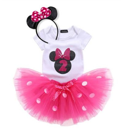 Minnie Mouse verjaardagset pink 2 jaar (3-delig) + NAAM