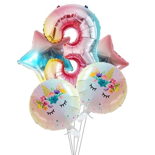 Folie Ballon Unicorn 3 jaar (5 stuks)