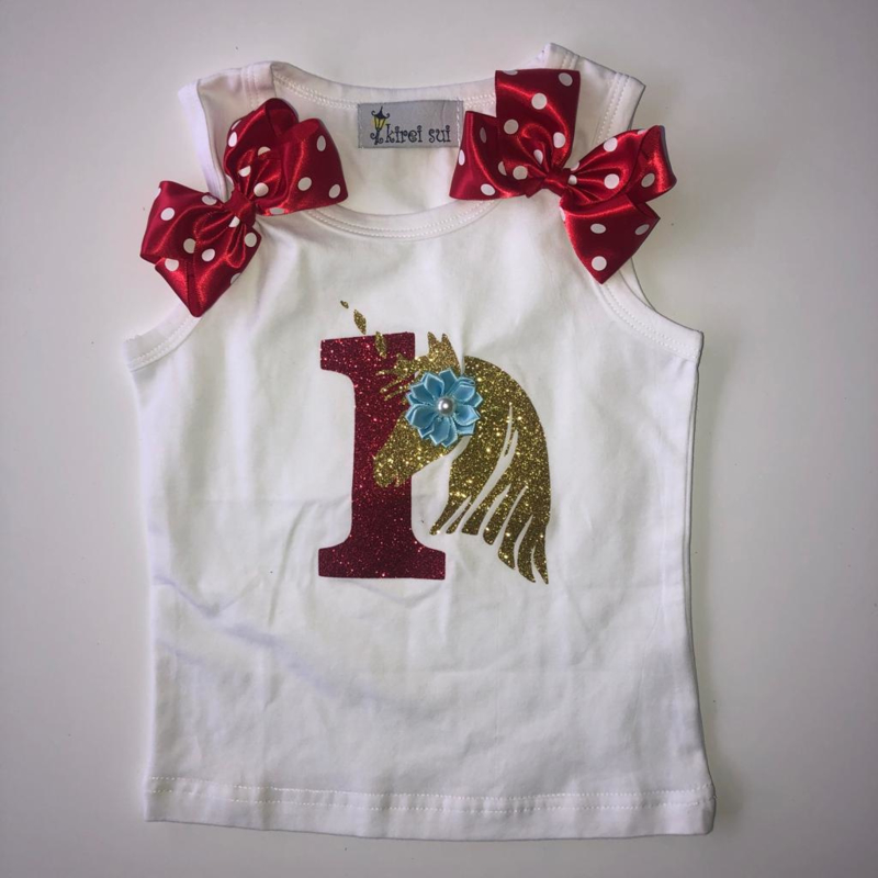 Unicorn shirt tanktop 1 jaar + naam