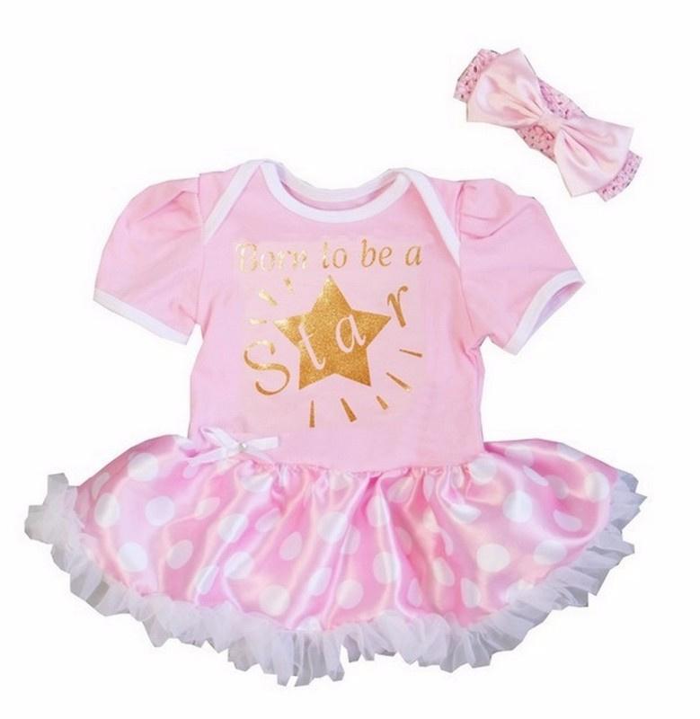 Babyjurk Born to be a Star licht roze stippen + haarband