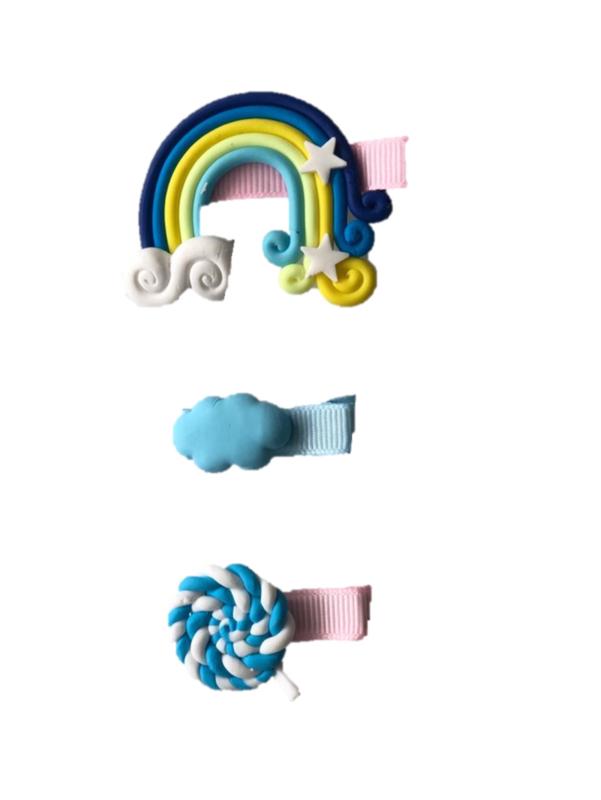 Unicorn/regenboog haarclips 3 stuks nr. 2
