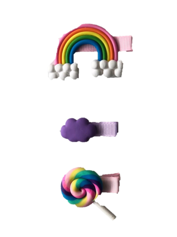 Unicorn/regenboog haarclips 3 stuks nr. 3
