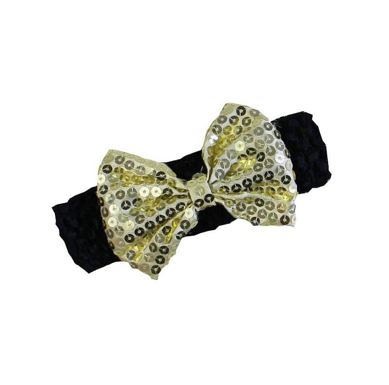 Haarband zwart strik goud  glitter