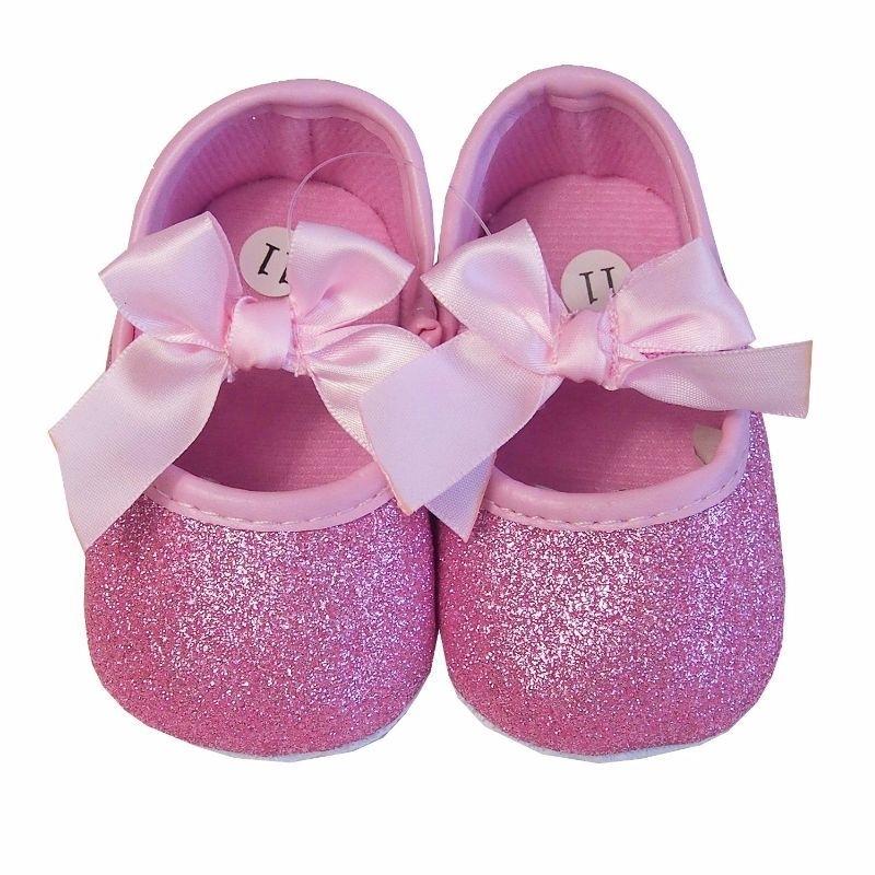 Baby schoen roze glitter