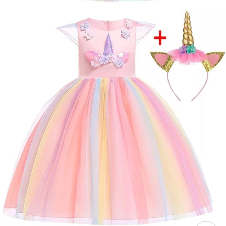 Unicorn jurk roze + diadeem