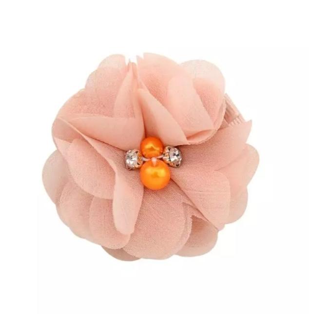 Haarclip bloem peach