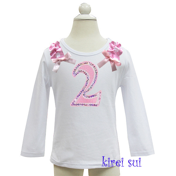 Verjaardag shirt met roze roezel, getal 1 t/m 6