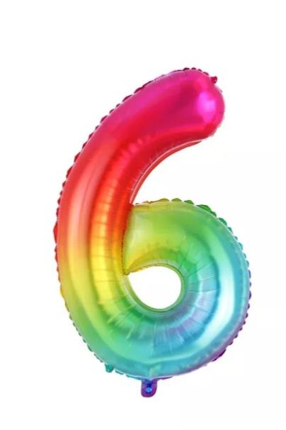 Folie Ballon cijfer 6 - regenboog