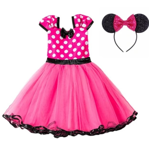 Minnie Mouse jurk pink + glitter diadeem