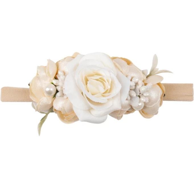 Haarband bloemen CHAMPAGNE/IVOOR