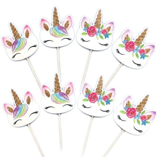 Unicorn Cupcake versiering - assorti- 6 stuks