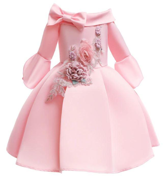 Galajurk off-shoulder roze, bloemen, wijde mouwen